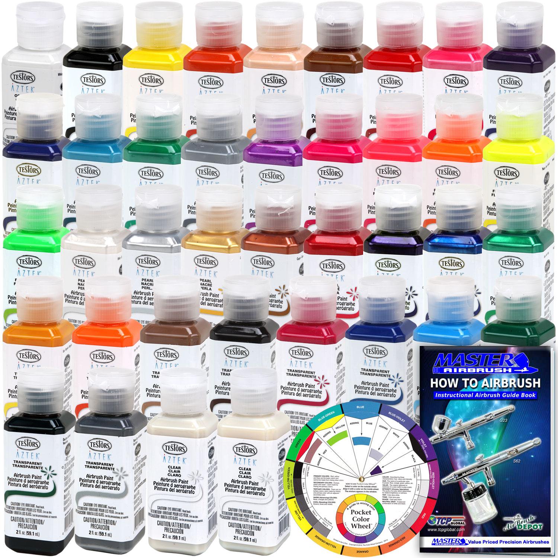 Complete 37 Color TESTORS AZTEK Premium Acrylic Airbrush Paint Set Color Mixing Wheel