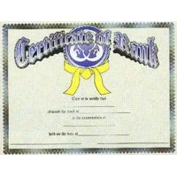 Certificate of Rank for Martial Arts Color Belts