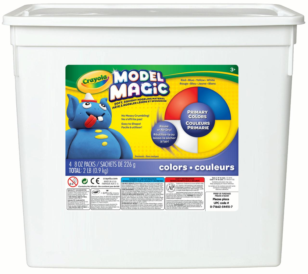 Crayola Model Magic Modeling Compound, 8 oz each Blue Red White Yellow, 2lbs. by Crayola
