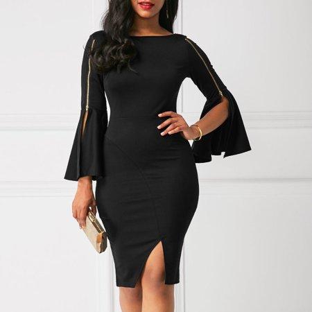 Zipper Bandage Dress (Women Bandage Bodycon Dress Black Zipper Casual Flare Sleeve Evening Party Cocktail Club Midi Dress S )