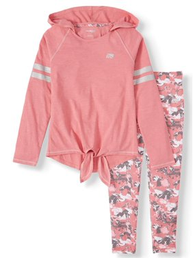 Marika Long Sleeve Hooded Top and Printed Performance Legging, 2-Piece Active Set (Little Girls & Big Girls)