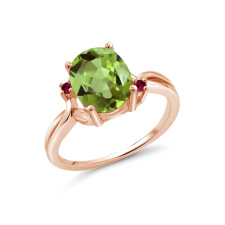 2.83 Ct Oval Green Peridot Red Created Ruby 18K Rose Gold Plated Silver Ring