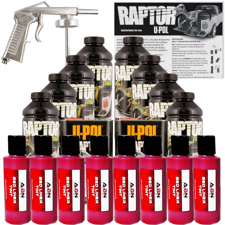 U-POL Raptor Tintable Blood Red BedLiner Kit w/ Spray Gun, 8 Liters Upol