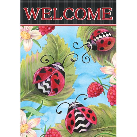 College 2 Sided Banner Flags - Ladybugs and Berries Garden Flag Floral Leaves 2 Sided Mini Banner 12.5