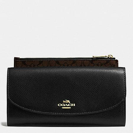 COACH Black Clutch Crossgrain Leather Pop Slim Envelope F52628 IMBLK