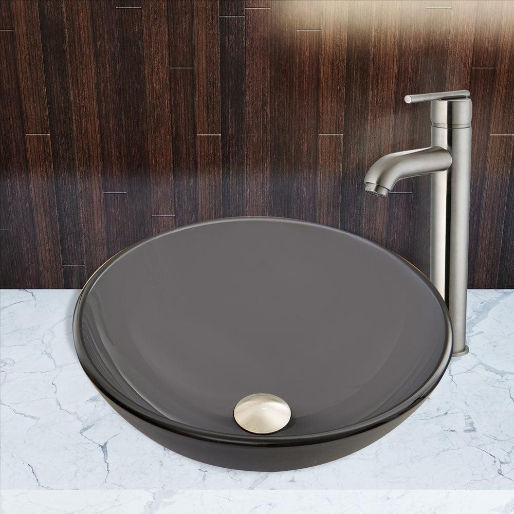 VIGO VGT Sheer Black Frost Glass Vessel Sink and Seville Faucet Set