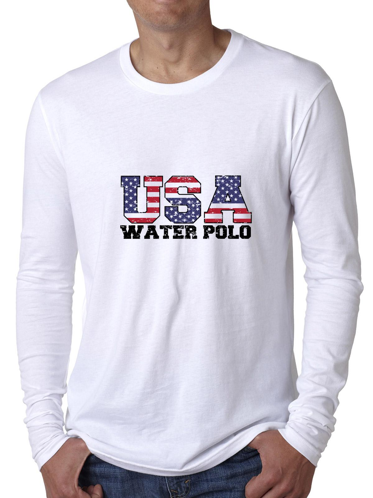USA Olympics Water Polo Vintage Letters Men's Long Sleeve T-Shirt by Hollywood Thread