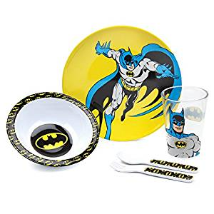 Bumkins Batman Kids Dish Set, Plate, Bowl, Cup, Fork and Spoon