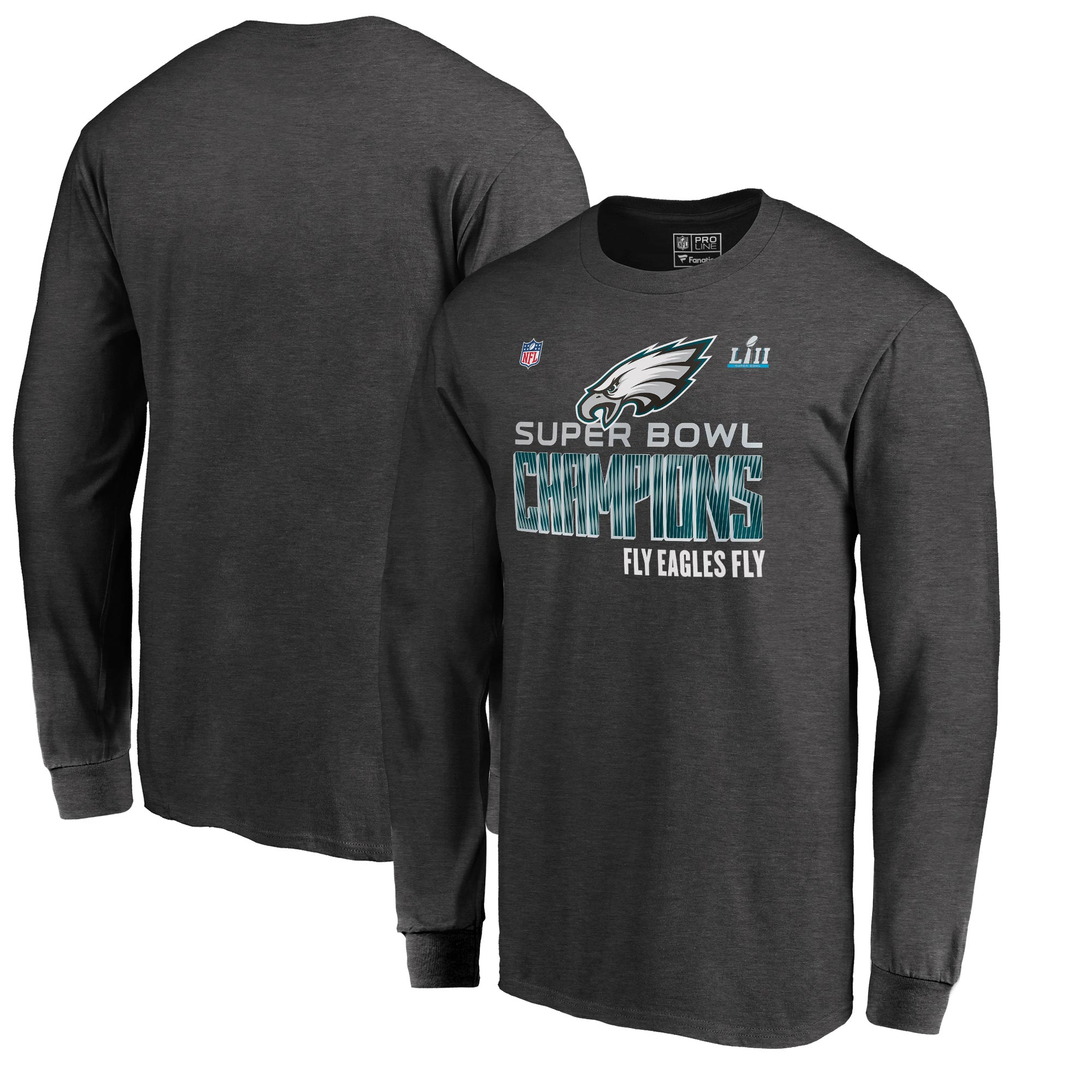 Philadelphia Eagles NFL Pro Line by Fanatics Branded Super Bowl LII Champions Trophy Collection Locker Room Long Sleeve T-Shirt - Charcoal