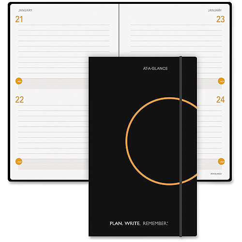 AT-A-GLANCE 2-Days-Per-Page Daily Planning Notebook, Black