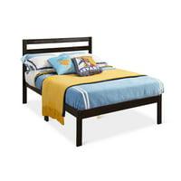 Gymax Solid Wood Platform Bed W/Headboard Design Twin Size Bed Frame Wood Slat Support