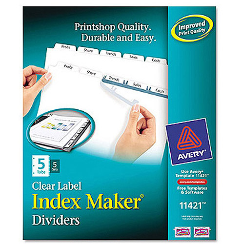 Avery Index Maker Clear Label Dividers with White Tabs for Copiers