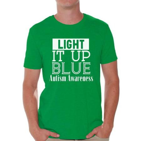 Awkward Styles Men's Light It Up Blue for Autism Awareness Shine A Light White Graphic T-shirt Tops](Light Up Tee Shirt)