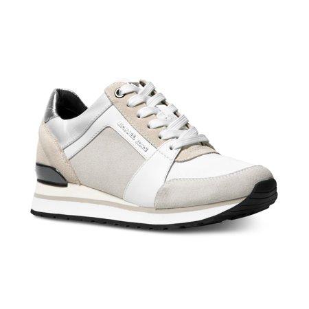 9d4bc002b4e Michael Kors MK Women's Billie Trainer Suede Sneakers Shoes Optic White (10)