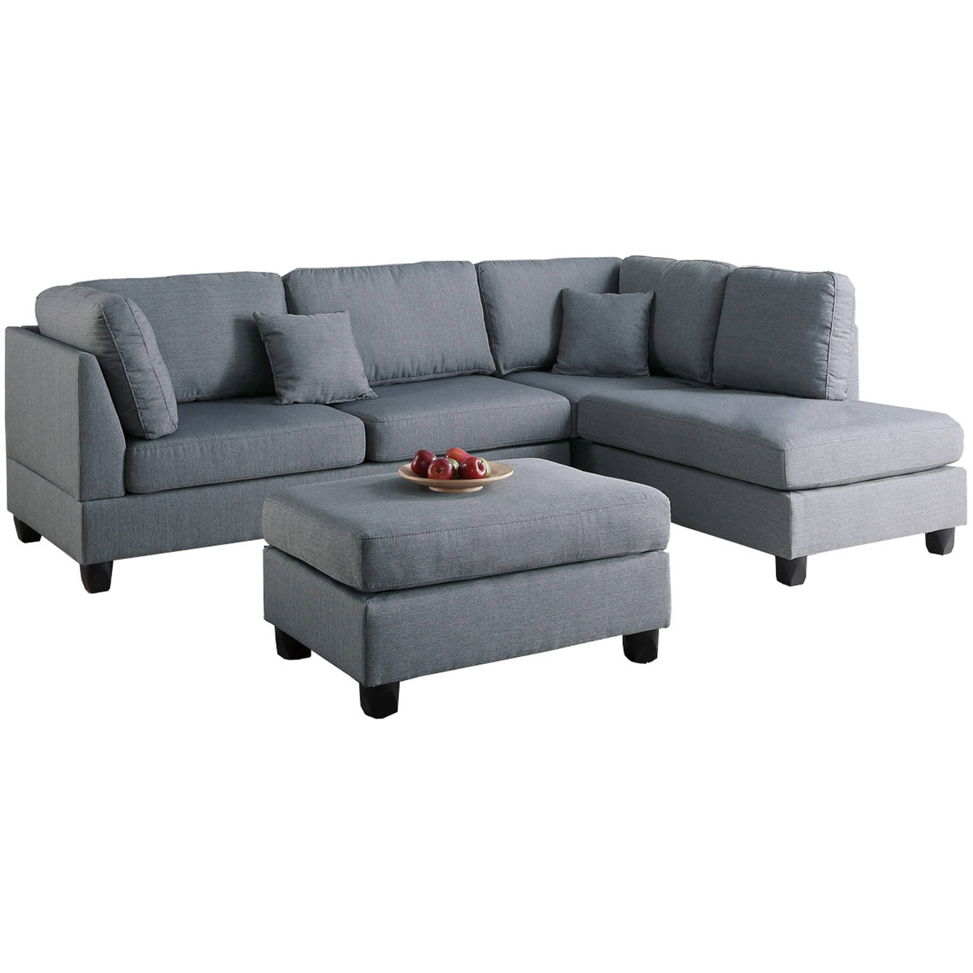 Bobkona Dervon Linen-Like Polyfabric Left or Right Hand Chaise Sectional with Ottoman Set by Poundex