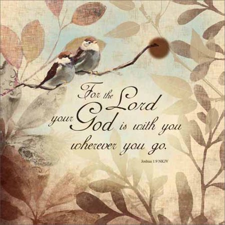 God Is with You Joshua Bird Distressed Linen Texture Foilage Religious Typography Tan & Brown Canvas Art by Pied Piper (Brown Bird Craft)