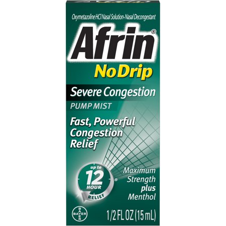 - Afrin No-Drip Severe Congestion Cold & Allergy Relief Pump Mist, 0.5 Fl Oz