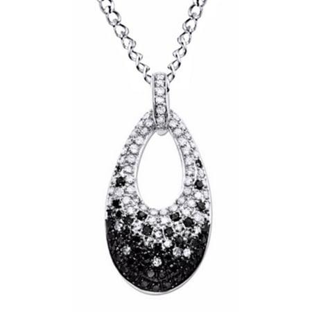 Black and White Diamond Teardrop Pendant Necklace in 10K Solid White Gold (1 Cttw) Diamond Teardrop Pendant Chain