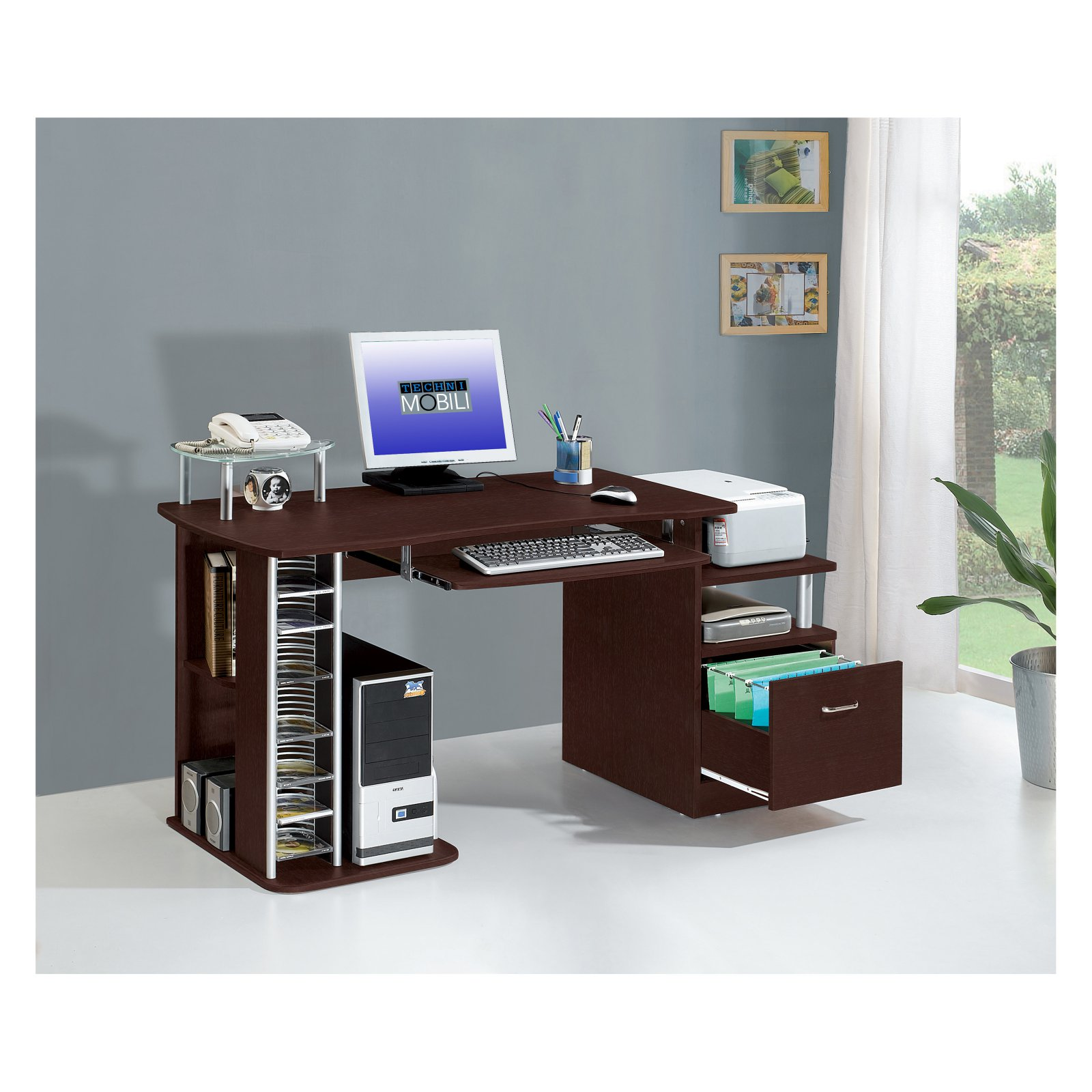 Techni Mobili Multifunction Computer Desk with Filing Drawer
