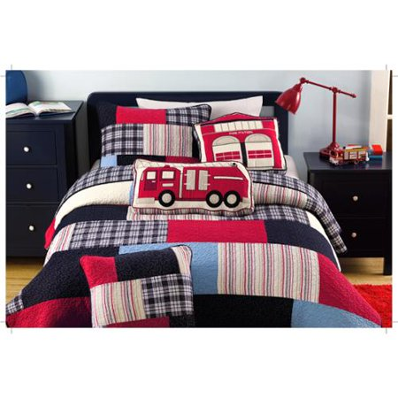 Cozy Line Ryan Brick Patchwork 100% Cotton Quilt Set, Full/Queen
