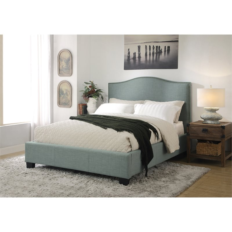 Modus Geneva Upholstered Full Platform Storage Bed in Bluebird by