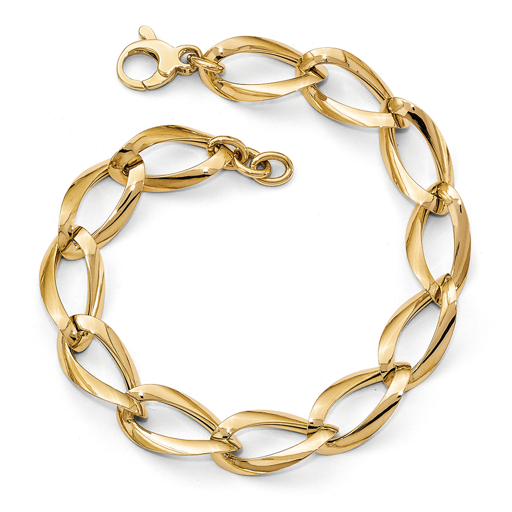 10mm 14k Yellow Gold Hollow Fancy Twisted Link Bracelet, 8 Inch by Black Bow Jewelry Company