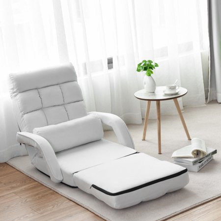 Costway Folding Lazy Sofa Lounger Bed Floor Chair Sofa w/ Armrests Pillow White - image 8 of 9