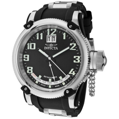 Invicta Men's 1595 Russian Diver Retrograde Black Dial Black Silicone Watch I...