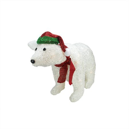Northlight Seasonal White Plush Glittered Polar Bear Christmas Decoration - Walmart.com