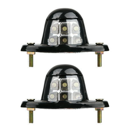 TSV 2PCS 6 LED White Universal LED License Plate Light for Car Van Trailer Trucks 12V