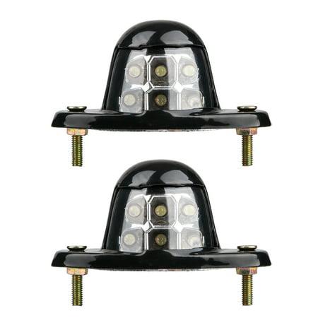TSV 2PCS 6 LED White Universal LED License Plate Light for Car Van Trailer Trucks