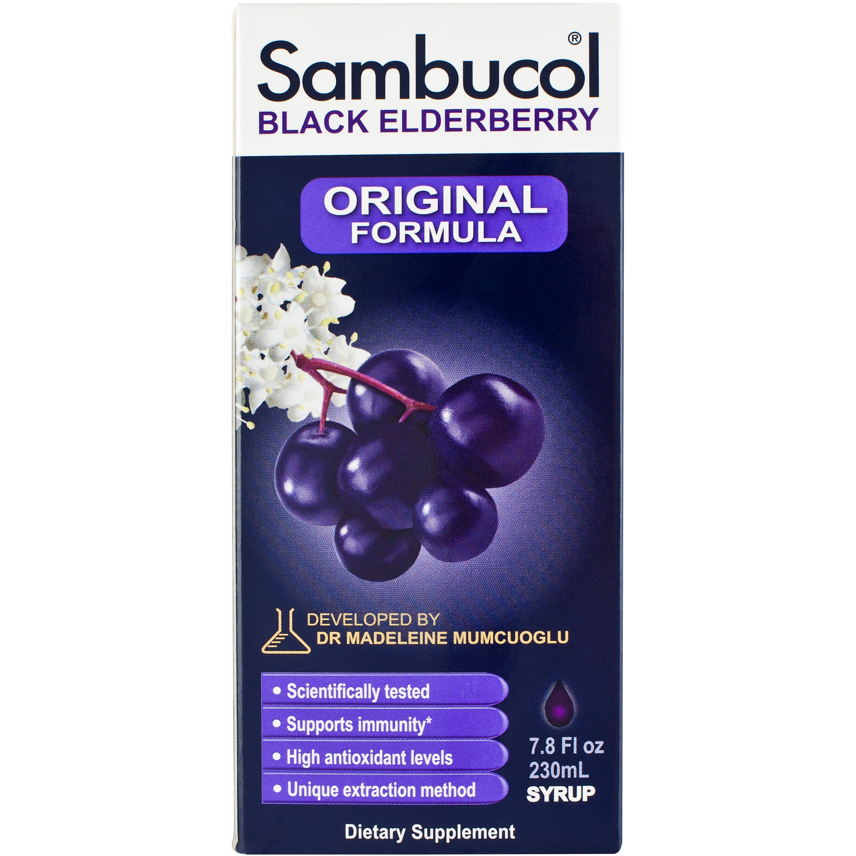 Sambucol Black Elderberry Original Formula Dietary Supplement Syrup, 7.8 FL OZ