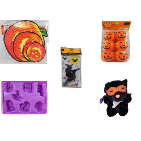Halloween Fun Gift Bundle [5 Piece] - Classic Pumpkin Cutouts Set of 9 - Party Favors Pumpkin Candy Containers 6 Count - Gel Clings Witch, Bats, Stars - Happy  Jell-O Mold - Manley Toys  Costume Cat - Halloween Vhs Box Set