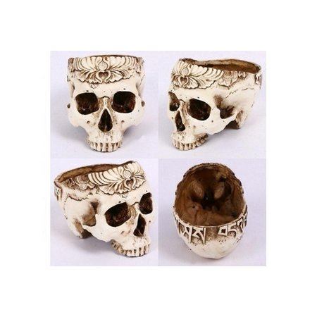 Halloween Decoration Human Skeleton Skull Carved Resin Craft Multifunction Key Holder Flower Pots Garden Decoration Display Ornament Costume Accessories (Size:
