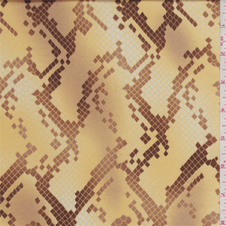 Golden Yellow Snakeskin Satin Stretch Charmeuse, Fabric Sold By the Yard