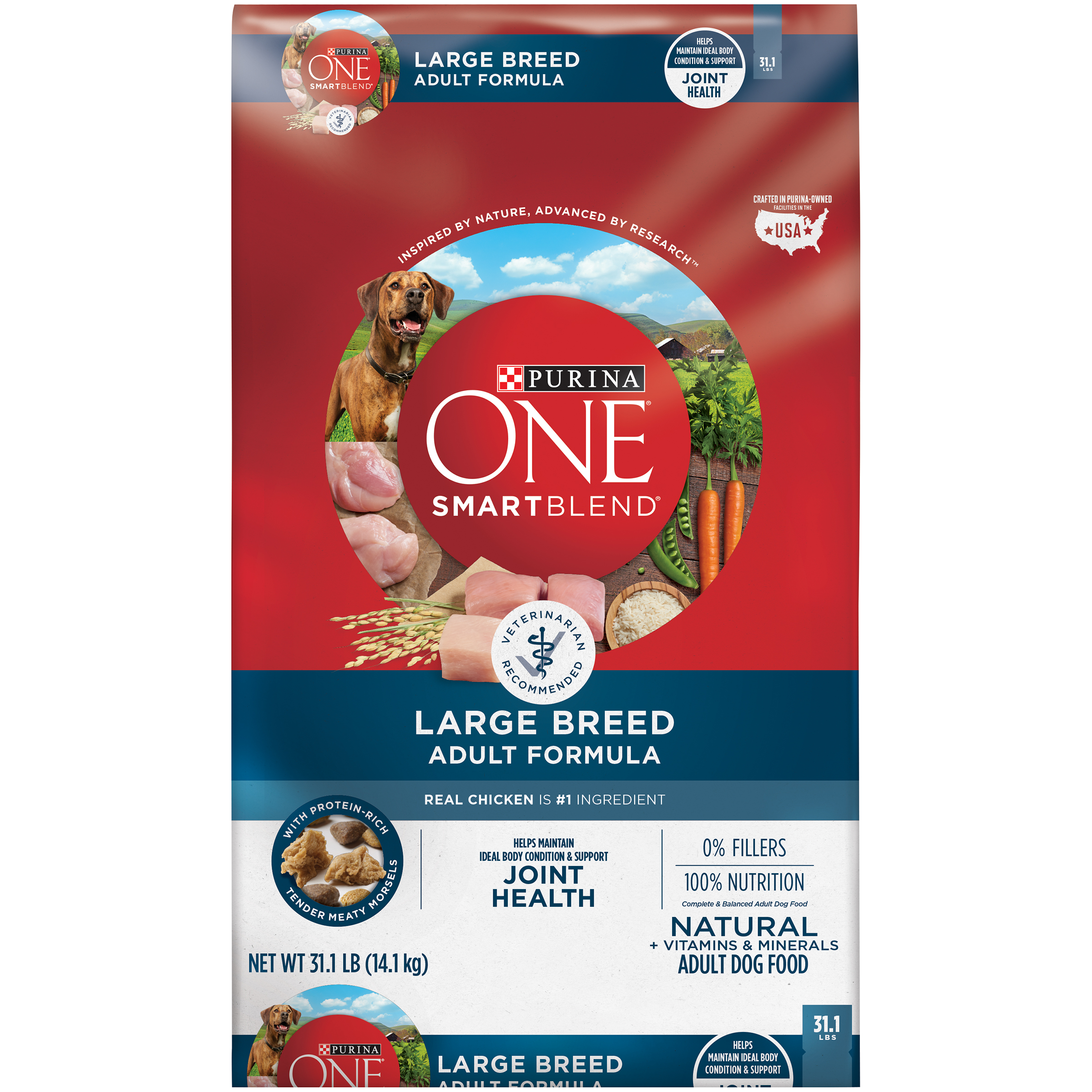 Purina ONE Natural Large Breed Dry Dog Food; SmartBlend Large Breed Adult Formula - 31.1 lb. Bag