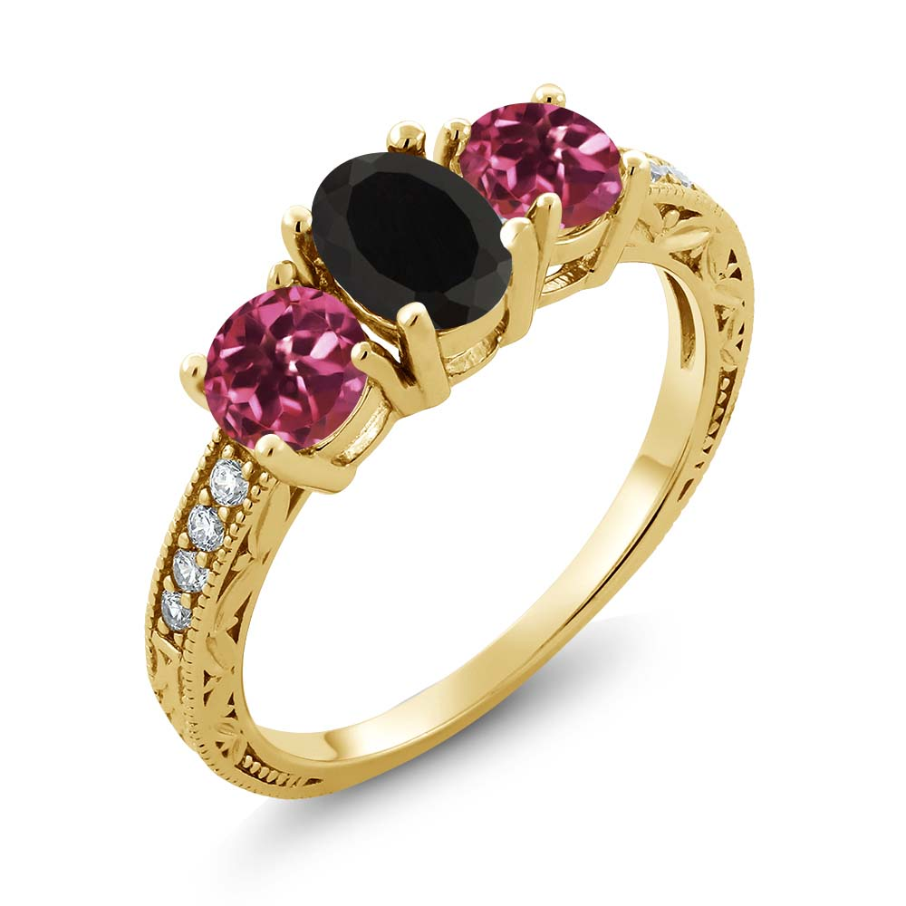 1.92 Ct Oval Black Onyx Pink Tourmaline 18K Yellow Gold Plated Silver Ring by