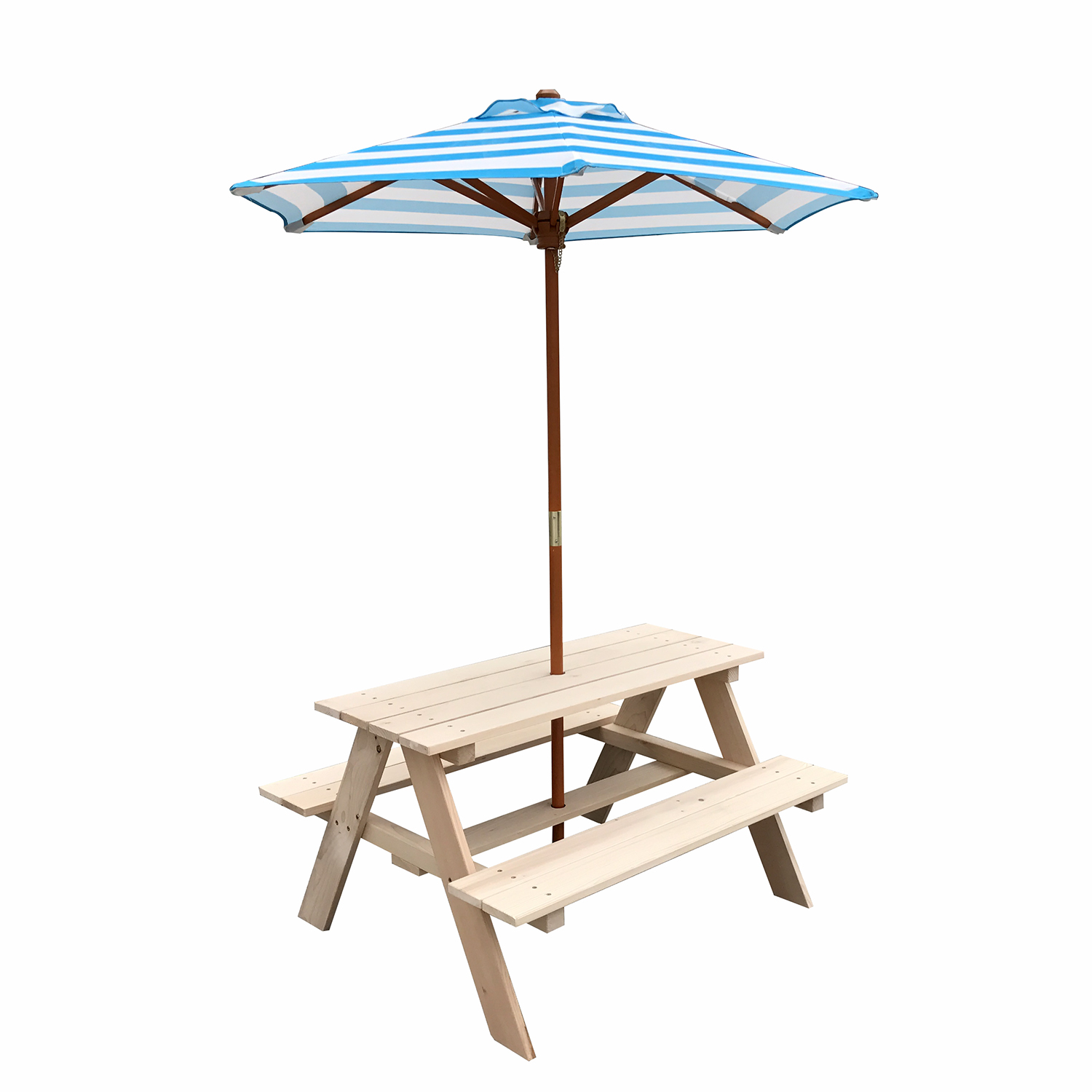 Outdoor Patio Wooden Kids Child Picnic Table Bench Chair W/ Umbrella Beach  Gardern
