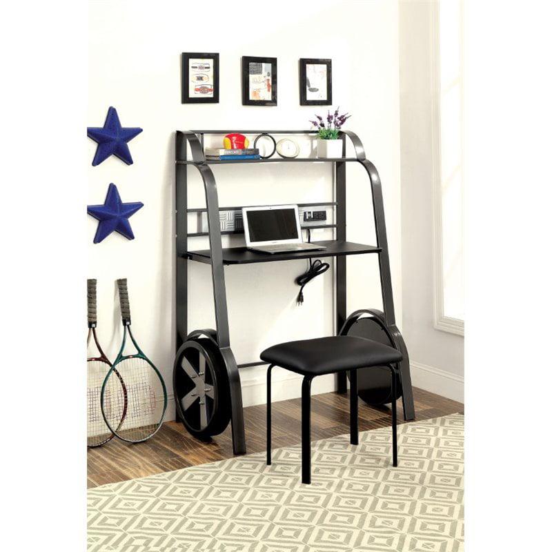 Furniture of America Parham Kids Desk with Stool in Gun Metal by Furniture of America
