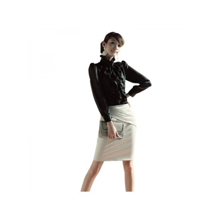 Nicesee Lady Vintage Long Sleeve Ruffle Trim Tops Blouse OL Slim Shirt