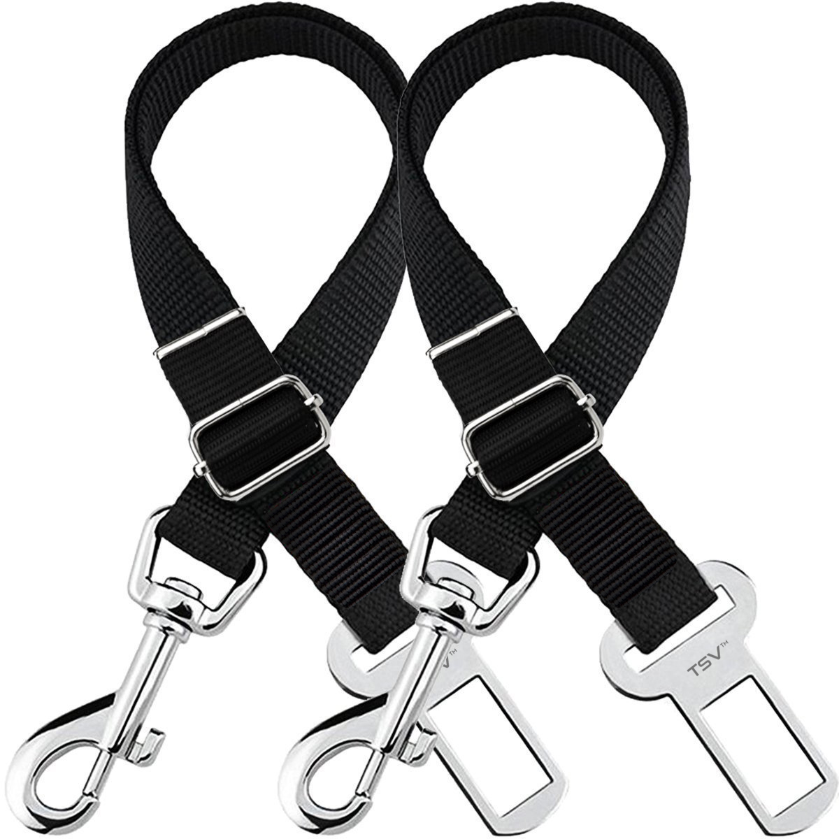 Tsv Dog Leash Seat Belt 2 Pack Adjustable Pet Car Seatbelt Safety
