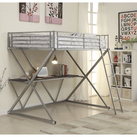 Coaster 400034T Home Furnishings Workstation Bed, Twin, Silver