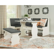 Linon Sasha Nook, Charcoal and White, Includes Corner Unit, Table and Bench