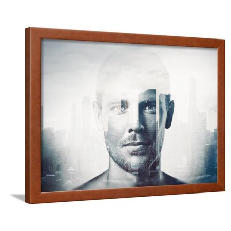 Double Exposure Black and White Portrait of a Handsome Man Framed Print Wall Art By pinkypills