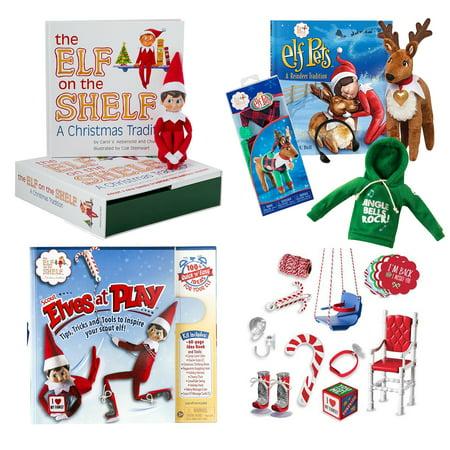 The Elf on the Shelf Play Bundle with Blue eye boy Elf, Jingle Bell Rock Hoodie, Elf Pet Reindeer, Reindeer Pajamas and BONUS Scout Elves at play set