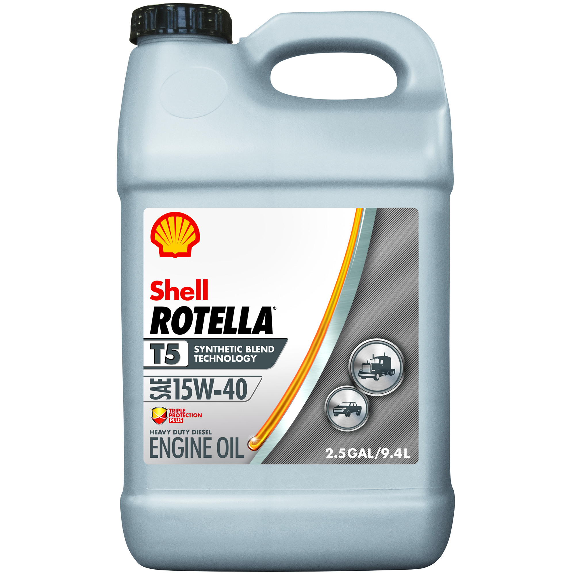 Shell Rotella T5 5W-40 Synthetic Blend Heavy Duty Diesel Engine Oil, 2.5 gal
