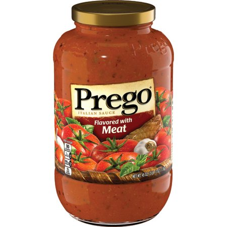 (2 Pack) Prego Italian Sauce Flavored with Meat Sauce, 45 oz . Classic White Flavored Sauce