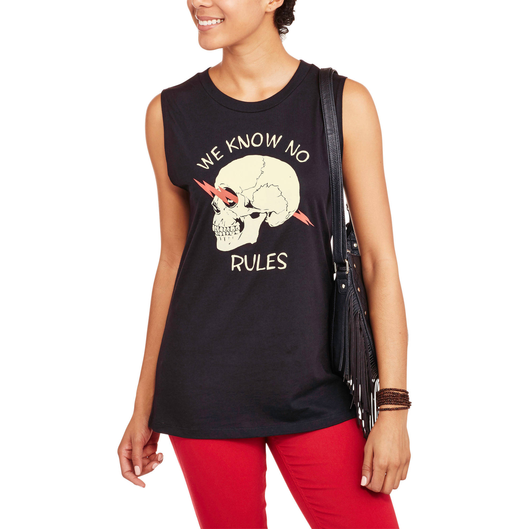 Juniors' We Know No Rules Graphic Muscle Tank by Isaac Morris