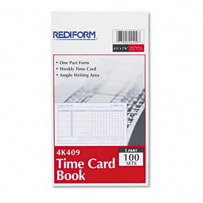 Rediform 4K409 Employee Time Card  Weekly  4-1/4 x 7  100 per Pad