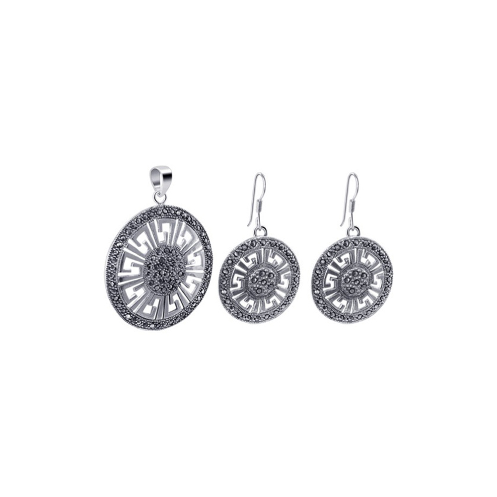Gem Avenue 925 Sterling Silver Marcasite Accented Round Dangle Earrings and Pendant Jewelry Set by Gem Avenue